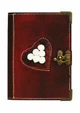 Romantic White Roses Leather Journal / Diary / Lock / Purple / Notebook