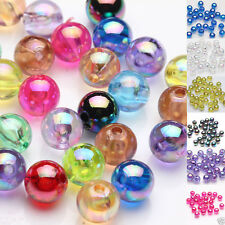 Hot 50/100Pc Acrylic Plated AB Round Loose Spacer Beads Jewelry Finding DIY 8mm