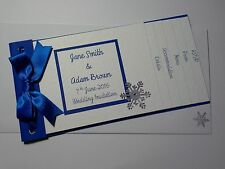 WINTER WEDDING SNOWFLAKE cheque book style invitations :60 colours : any qty
