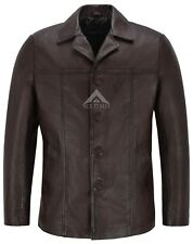 Men's 4010 Brown Hip Length Real Nappa Leather Casual Leather Jacket Coat