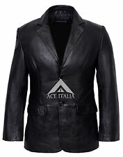 CLASSIC BLAZER 9124 Men's BLACK Tailored Soft Real Nappa Leather Jacket Coat