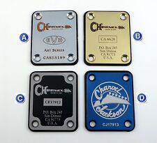 Charvel EVH Tribute Guitar Neck Plate - Engraved in your choice of 8 colors