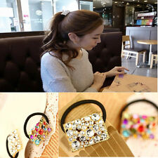 Vogue Crystal Rhinestone Elastic Flower Hair Band Rope Scrunchie Holder Ponytail