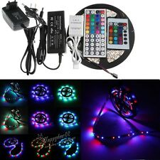 LED Strip lights 5M RGB 300LEDs 3528/5050 SMD 24/44key Remote 5A/2A Power Supply