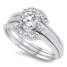 Sterling Silver 925 BRIDAL WEDDING SET ROUND CLEAR CZ RING 6MM SIZES 6-10