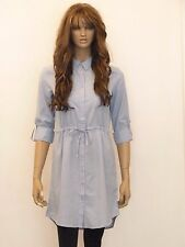 New womens blue drawstring 100% cotton long sleeve shirt dress uk size 10-16