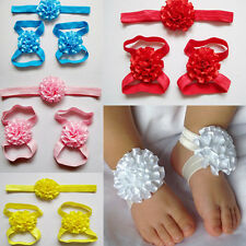 Newest Baby Flower Foot Flower with Headband Infant Barefoot Sandals for Babies