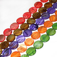 """20MM COIN MULTICOLOR NATURAL SHELL MOP GEMSTONE LOOSE JEWELRY BEADS STRAND 15"""""""