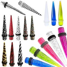 1 Ear Taper Expander Plug Piercing Gauge Stretcher Flesh Tunnel Zebra Stars Leo
