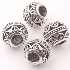 10/20Pcs Tibet Silver Big Hole Loose Spacer Beads Charms Pendant Jewelry Finding