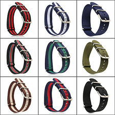 Fashion 18/20mm Military Nylon Wrist Band Strap for Watch Stainless Steel Buckle