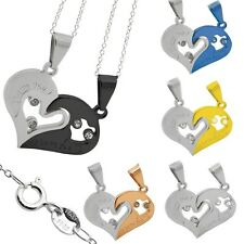 2x chain 925 sterling silver+1 Heart Pendant Couple Love Friends Stainless Steel