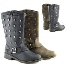 Ladies Mid Calf Boots Womens Zip Up Buckle Sock Detail Round Toe Boots Shoe Size
