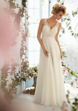 Sleeveless Chiffon&Lace V Neck White/Ivory Wedding Dress Size6-8-10-12-14-16+++