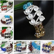 Womens Fashion Faceted Crystal Glass Spacer S Beads Bangle Bracelet Elastic Gift