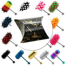 Surgical Steel Vibrating Tongue Silicone Intim Body Piercing Batterie+gift case