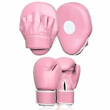 Pink Focus Pads Ladies Jab & Hook Boxing Set Sparring Gym Punching Target Gloves