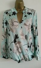 NEW M&Co Tiffany Blue Silver Grey Drape Front Floral Top Shirt Blouse 8-22