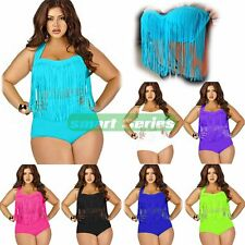 Plus Size Sexy Women Swimsuit Beach Padded Tassel Bikini High Waist Swimwear Set