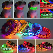 Flashing Leopard Pet Dog Cat LED Light Flashing Night Safety Nylon Neck Collars