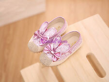 Kids Toddler Baby Girls 2015 Fall Sweet Bling Rabbit Ears Bow Soft Flats Shoes