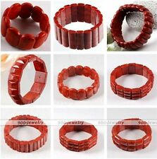 1pc Womens Mens Gemstone Red Coral Carved Square Beads Cuff Bracelet Bangle Gift