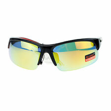 Xloop Mens Sunglasses Half Rim Sports Wrap Around Frame UV 400