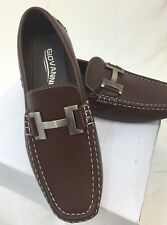 MEN GIOVANNI DRESS SHOES Loafer Casual Italian Slip-On Solid Brown White Stitch