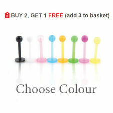 Bioplast Labret Bar Stud Bioflex Monroe Tragus Lip Piercing 16G Colours 3mm Ball