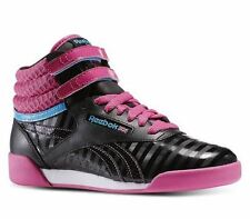 Reebok Freestyle Hi Kids Sneakers Black Pink V63066 Sz4-7Y Fast Shipping S