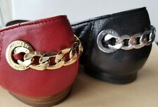 Michael KORS RAMSEY SEXY LOGO CHAIN QUILTED LEATHER RED BLACK BALLET FLATS