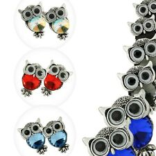 1 Pair Stud Earrings Owl Bird Vintage Style Metal Alloy Red Red Woman Rhinestone