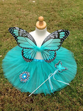 TURQUOISE Monarch Butterfly Costume Wings Wand Set Halloween Girl 2T-5T