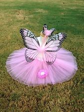 PINK Monarch Butterfly Costume Wings Wand Set Halloween Girl 2T-5T