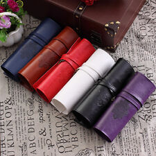 Retro Vintage Roll Leather Make Up Cosmetic Pencil Case Pouch Purse Bag HOT!!!