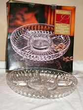 "Crystal Clear 10"" Crystal Sectional Nut etc. Server Plate Platter Bowl by LINEAR"