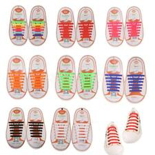 12pc KIDS NO TIE Silicone Shoelaces Shoe Laces Canvas Sneakers Running Sporting