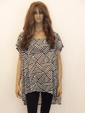 New womens black and white print sheer plus size top uk 20/22