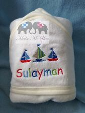 PERSONALISED BABY HOODED TOWEL BOATS NAME NEWBORN BOYS GIFT