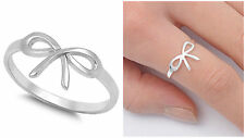 Cute Design!.925 Sterling Silver 9MM BOW TIE RIBBON PLAIN SILVER RING SIZES 2-12