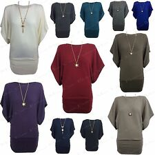 NEW WOMENS LADIES CASUAL SHORT BATWING SLEEVE KNITTED TOP LOOK NECKLACE JUMPER
