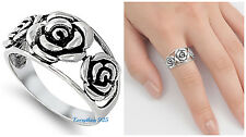 Sterling Silver 925 PRETTY ROSE FLOWER DESIGN SILVER RING 12MM SIZES 4-10