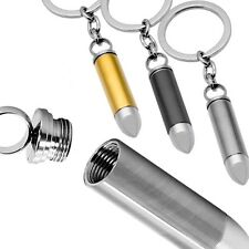 1 Key fob Stainless Steel Ring Key Keychain Cartridge Cavity Bullet Set Silvern