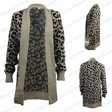NEW WOMENS LADIES LONG SLEEVE LEOPARD WARM WINTER KNITTED CARDIGAN PLUS SIZE8-22