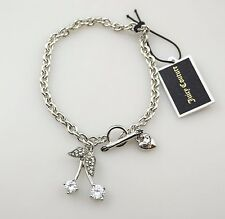 Juicy Couture Crystal Pave Cherry Heart Charm Silver Chain Toggle Bracelet,NWT
