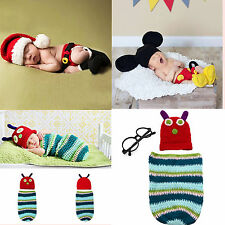 Baby Infant Newborn Costume Knitting Photography Props Crochet Beanie Hat Outfit