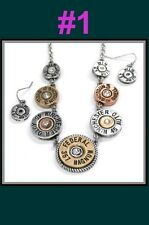 BULLET HEAD Gun Patina Ammo 2nd Western Necklace Earring Gold Silver Jewelry SET