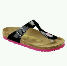 BIRKENSTOCK - GIZEH - BLACK VARNISH w HOT PINK SOLES $127+ SAVE $27