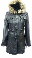Ladies 9940 Dark Black Glaze Hooded Mid-Length Fur Real Leather Jacket Coats