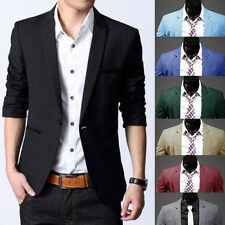Stylish Men's Casual Slim Fit One Button Suit Blazer Coat Jacket Tops UK 2017
